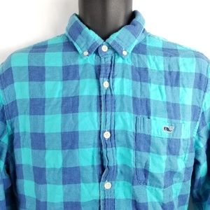 Vineyard Vines Plaid Button Front Long Sleeve